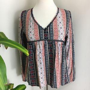 NWOT A&F boho tie back mixed pattern v neck blouse